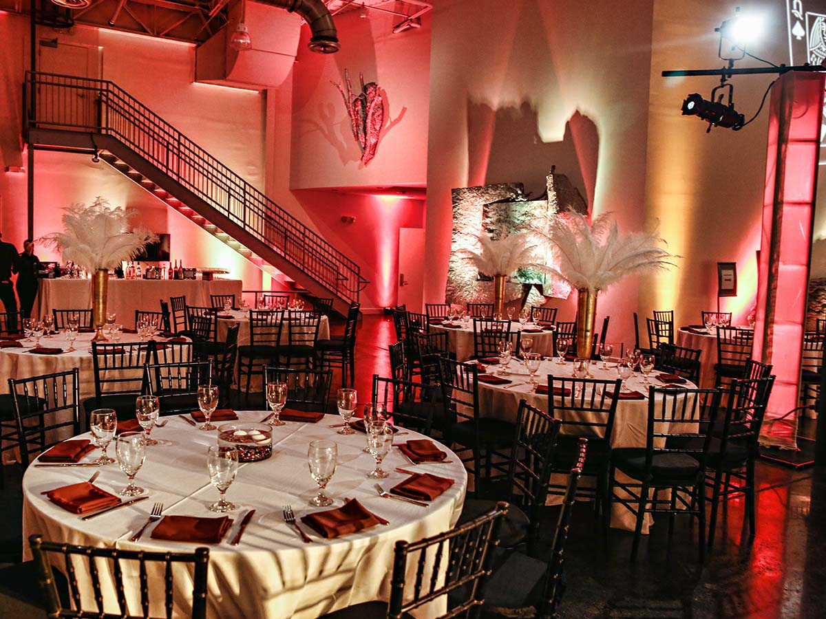 Casino themed holiday party with decorative lighting