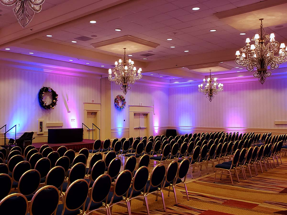 festive lighting in a ballroom
