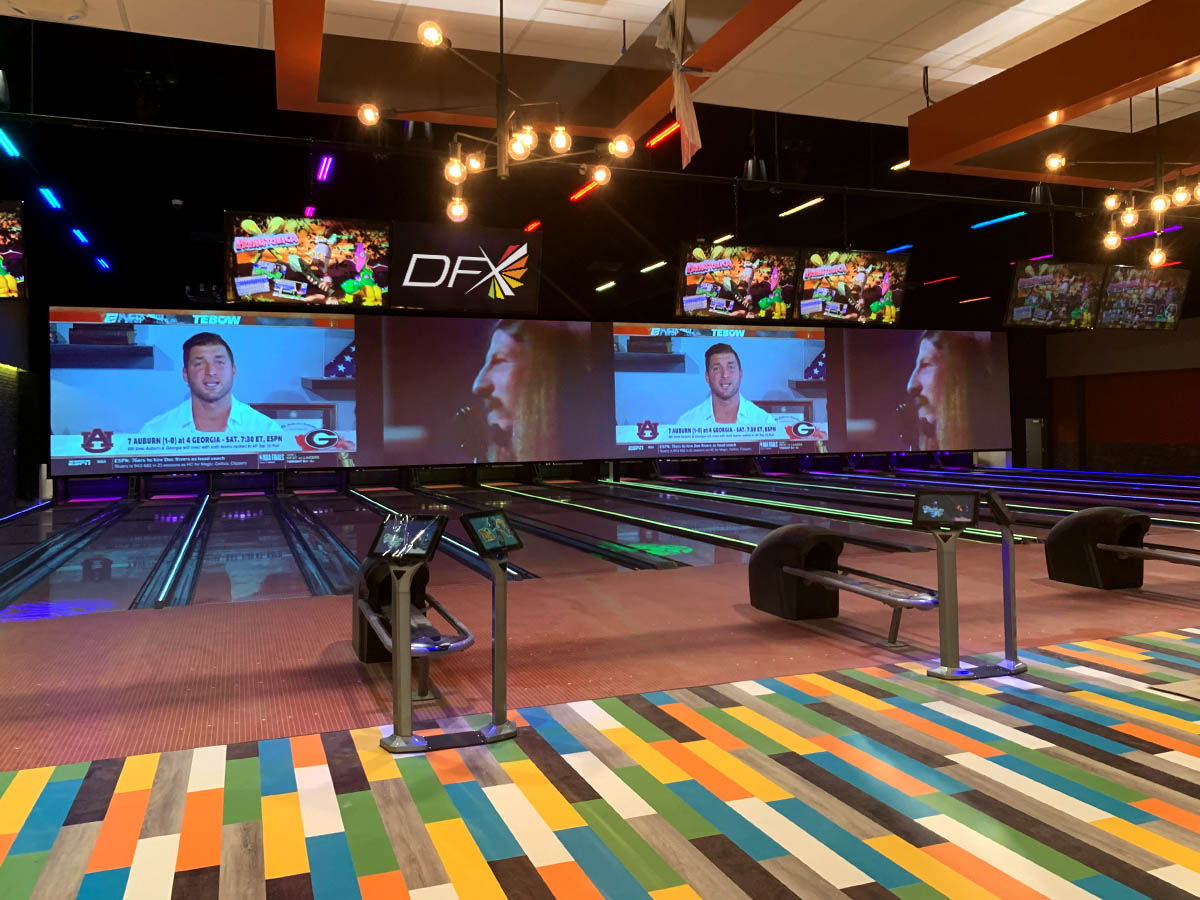 Bowling lanes with lighting and video services