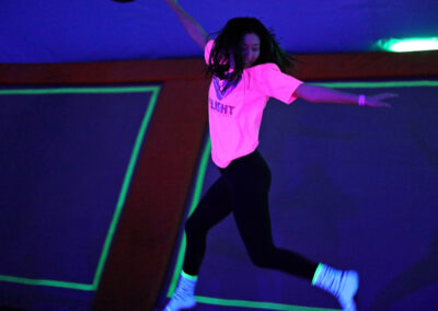 Patron enjoying a trampoline park