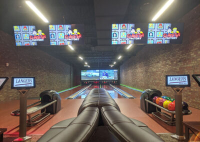 Private bowling lanes with projection screens