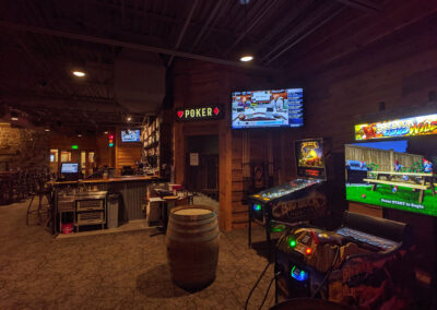 Bar with displays and arcade games